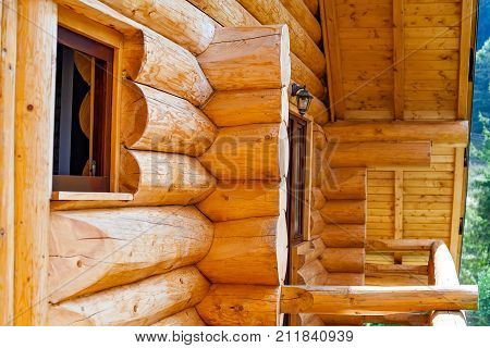 Wooden textured house construction in Transilvania Romania