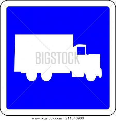 Truck allowed blue road sign on white background