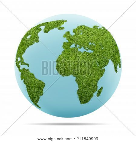 3d illustration of World globe shape of green grass isolated on white background