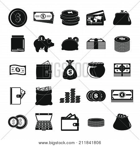Money icons set. Simple illustration of 25 money vector icons for web
