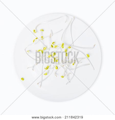 Bean sprouts isolated in white plate on white background.