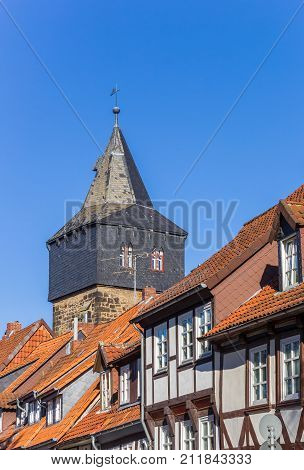 Half-timbered Houses In Front Of The Kehrwiederturm Tower In Hildesheim