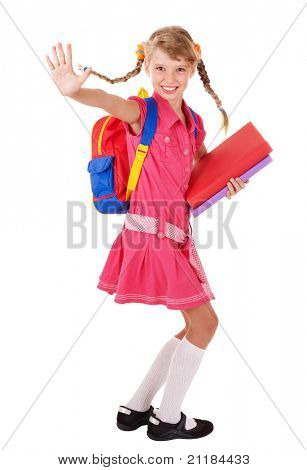 School girl  holding pile of books. Isolated.