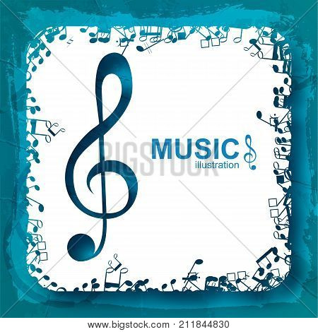 Music design concept with blue treble clef white square and musical notes icons isolated vector illustration
