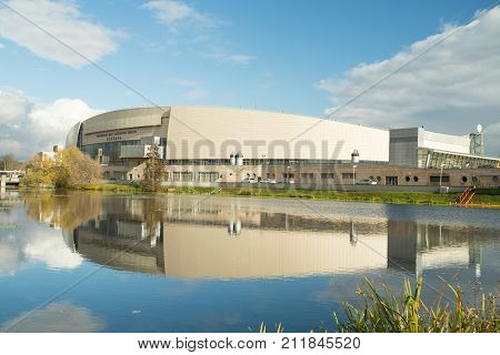 Kolomna Russia - October 22 2017: Kolomna Center Speed Skating By Kolomenka River With Reflection On Background Of Blue Sky With Clouds Sunny Autumn Day.