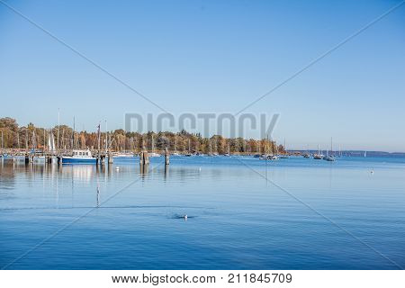 The port in Dießen on the West Bank of the Ammersee
