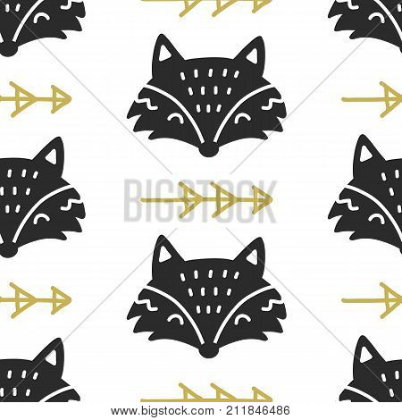 Scandinavian Fox nordic seamless pattern. Hand drawn trendy folk art decoration backdrop. Good for kids wallpaper, invitation card, scrapbook, wrapping paper, fashion textile print.