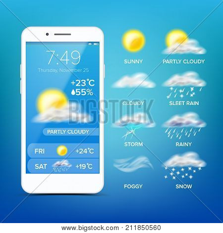 Weather Forecast App Vector. Realistic Smartphone. Weather App With Icons. Weather Icons Set. Blue Background. Mobile Weather Application Screen. Design Element Illustration