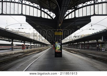 Train Stop Waiting In Terminal For Send And Receive Passenger At Platform Of Gare De Paris-est Or Pa
