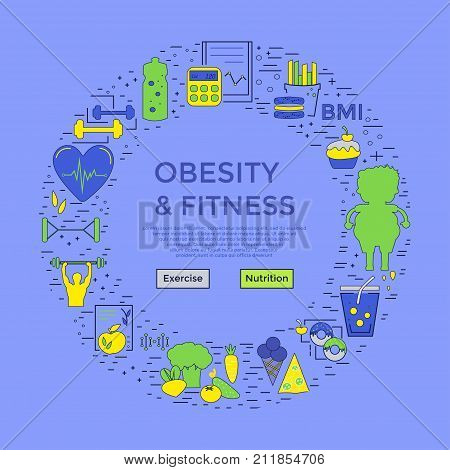 Obesity And Fitness Flyer Or Banner