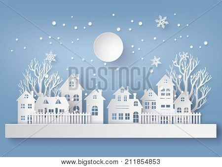 Winter Snow Urban Countryside Landscape City Village with full moon Happy new year and Merry Christmas paper art and craft style.