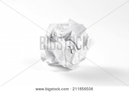 A Lump Of White Paper. Isolated On White Background