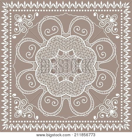 Decorative colored background, geometric floral doodle pattern with ornate lace frame. Tribal ethnic mandala ornament. Bandanna shawl, tablecloth fabric print, silk neck scarf, kerchief design