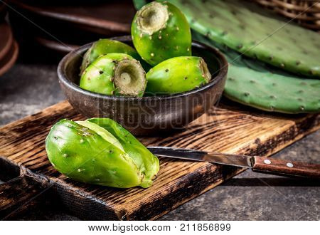 Tuna cactus fruit, Prickly pear, cactus pear. Latin American fruit tuna.