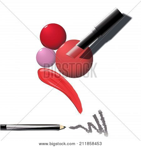 Makeup Set Of Cosmetics. Red Lipstick, Eye Pencil, Pink Drops Of Nail Polish, Smear, Trace Lipstick,