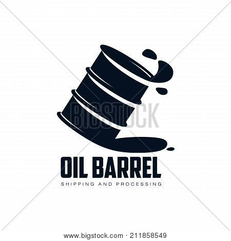 vector oil fuel barrel oil drop simple flat icon pictogram isolated on a white background. Gas oil fuel, energy power industry symbol, sign silhouette