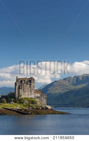 View of the Eilean Donan Castle in the Highlands of Scotland United Kingdom Concept for travel in Scotland