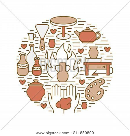 Pottery workshop, ceramics classes banner illustration. Vector line icon of clay studio tools. Hand building, sculpturing equipment. Art shop circle template.