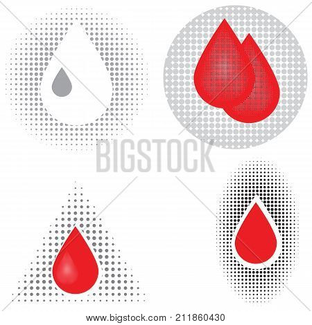 colorful illustration with blood icons on white background