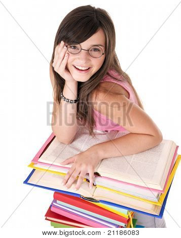 Girl with pile colored book . Isolated.