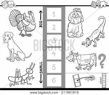 Find Biggest Animal Color Book Activity
