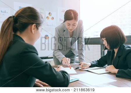Company Manager Woman Meeting With Employees