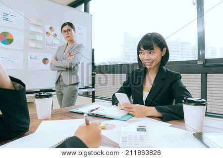 Happy Smiling Business Woman Using Mobile Phone