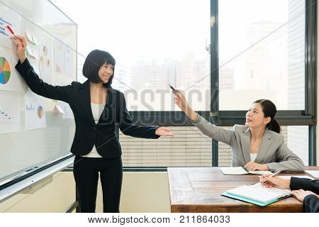Happy Female Company Boss Pointing Whiteboard