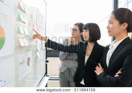 Female Office Worker Pointing Chart Document
