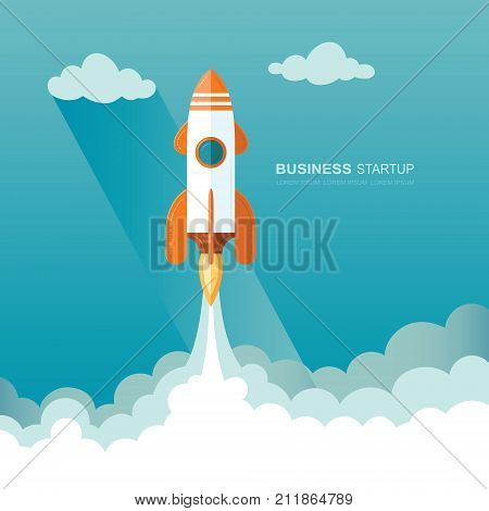 Launching a rocket into space. illustration of a business startup template. Flat design modern vector illustration concept of new project start up development and launch a new innovation product on a market.