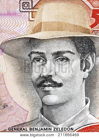 Benjamin Zeledon portrait from Nicaraguan money - Cordobas