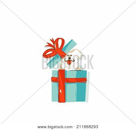 Hand drawn vector abstract fun Merry Christmas time cartoon icon illustration with mammal happy dog with in surprise gift box isolated on white background.