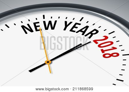 An image of a typical clock with new year 2018