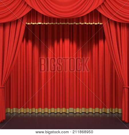 Red stage curtains. Luxury red velvet drapes, silk drapery. Realistic closed theatrical cinema curtain. Waiting for show, movie end, revealing new product, premiere, marketing concept. 3D illustration