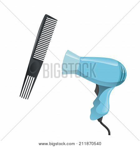 Cartoon trendy design hair styling equipment tool set. Plastic black hair comb with special long teeth and electric hairdryer. Vector barber shop illustration icon collection.
