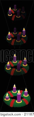 Advent wreath with one, two, three, four burning candles in chronological order on first, second, third and fourth Sunday of Advent - vector illustration, black background, high size bookmark format.