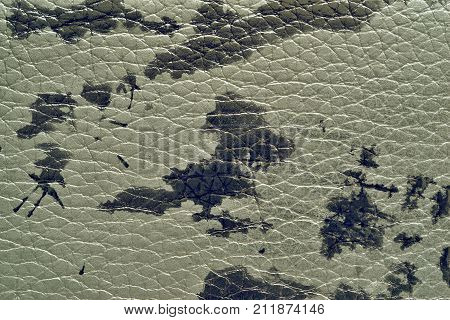 abstract background of rough spotty texture of natural leather closeup green tone
