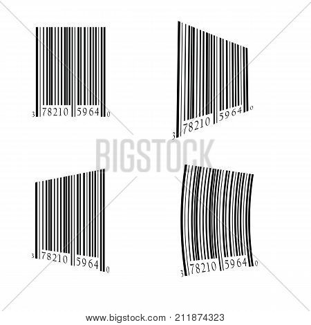 illustration with bar code set on white background