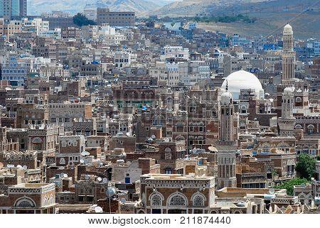 SANAA, YEMEN - SEPTEMBER 09, 2006: View to the Sanaa city in Sanaa, Yemen. The old city of Sanaa is declared a UNESCO World heritage site.
