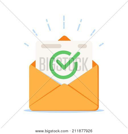 Envelope With Approved Document Icon. Vector Illustration Of E-mail Confirmation.