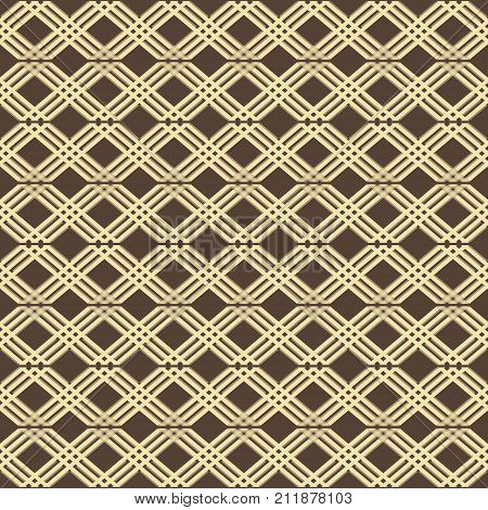 Abstract seamless geometric pattern in brown and yellow colors. Lattice of intersecting diagonal stripes
