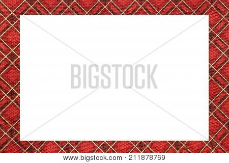 Red Tartan Type Scottish Frame With A White Space To Write A Mes