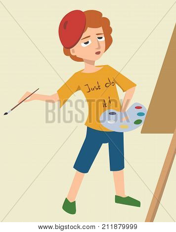 funny cartoon artist character immersed in creativity - vector illustration