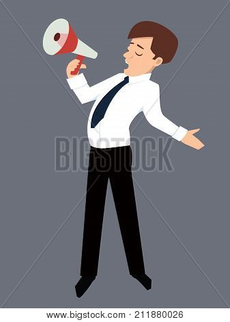character person speaks into a megaphone with funny expression- vector illustration of spokesman
