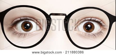 Close Up Photo Of Boy Eyes Wide Open In Glasses