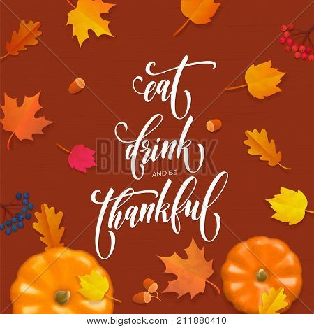 Happy Thanksgiving Holiday Autumn Fall Vector Pumpkin Calligraphy Leaf Greeting Card