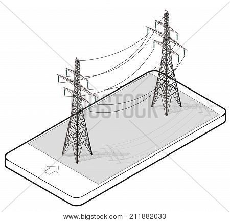 Vector high voltage pylons in mobile phone, isometric perspective. Wire metal pole voltage, isolated background. Outlined power line pylons communication technology. Power plant equipment illustration