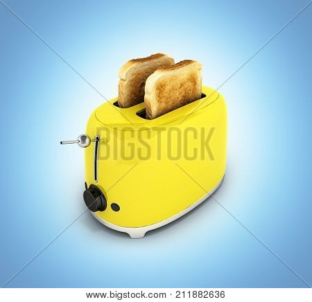 Toaster With Toasted Bread Isolated On Blue Gradient Background Kitchen Equipment Close Up 3D