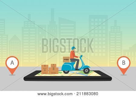 Express Delivery Concept. Checking Delivery Service App On Mobile Phone. Delivery Scooter Motorcycle