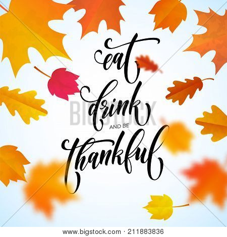 Happy Thanksgiving Holiday Autumn Fall Vector Calligraphy Maple Leaf Greeting Card